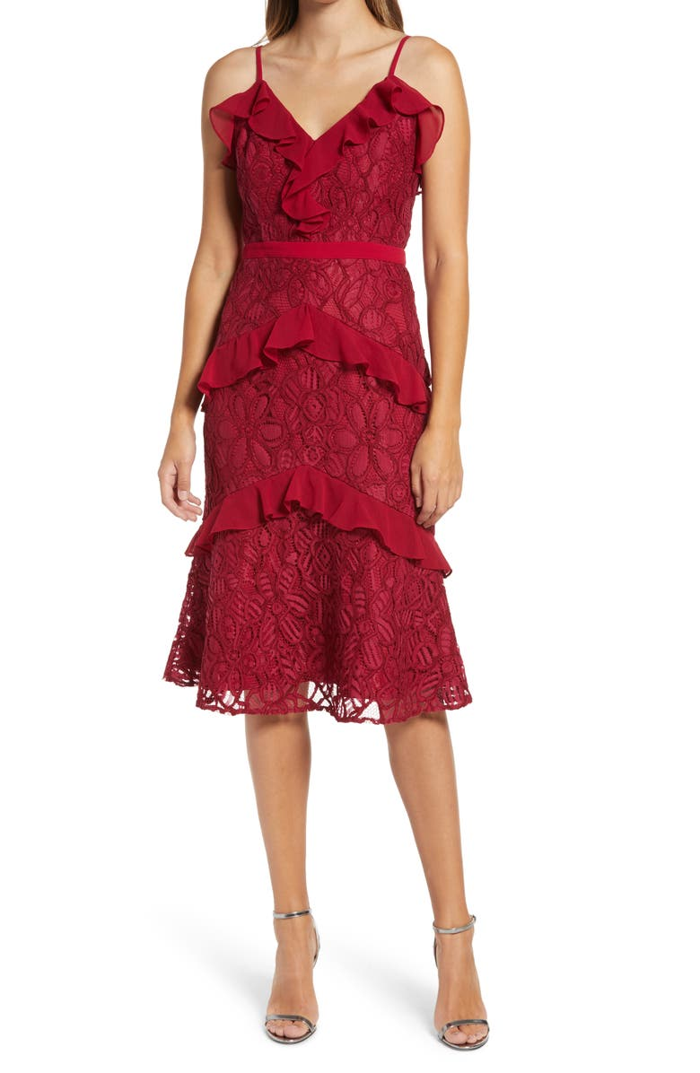 ADELYN RAE Enslie Embroidered Lace Dress, Main, color, CHERRY