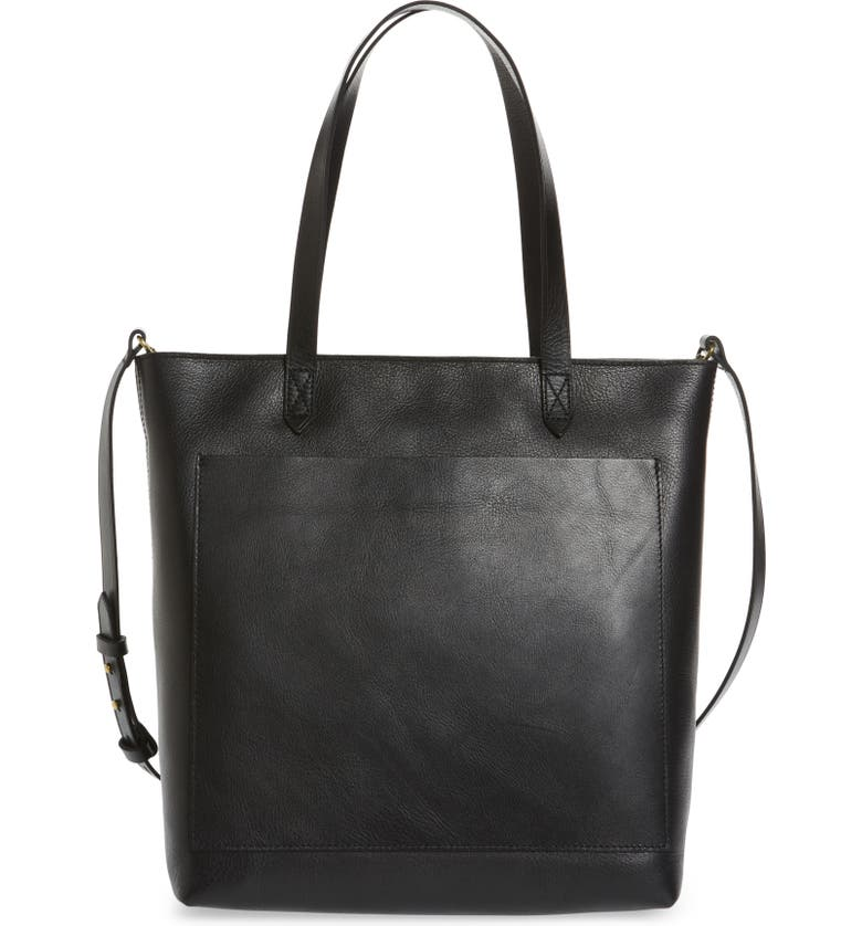 MADEWELL The Zip-Top Medium Transport Leather Tote, Main, color, TRUE BLACK