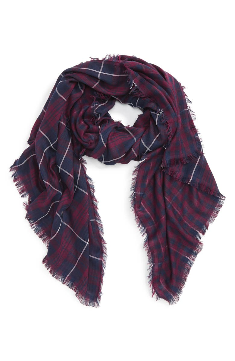 FITS David & Young Plaid Oblong Scarf, Main, color, 400