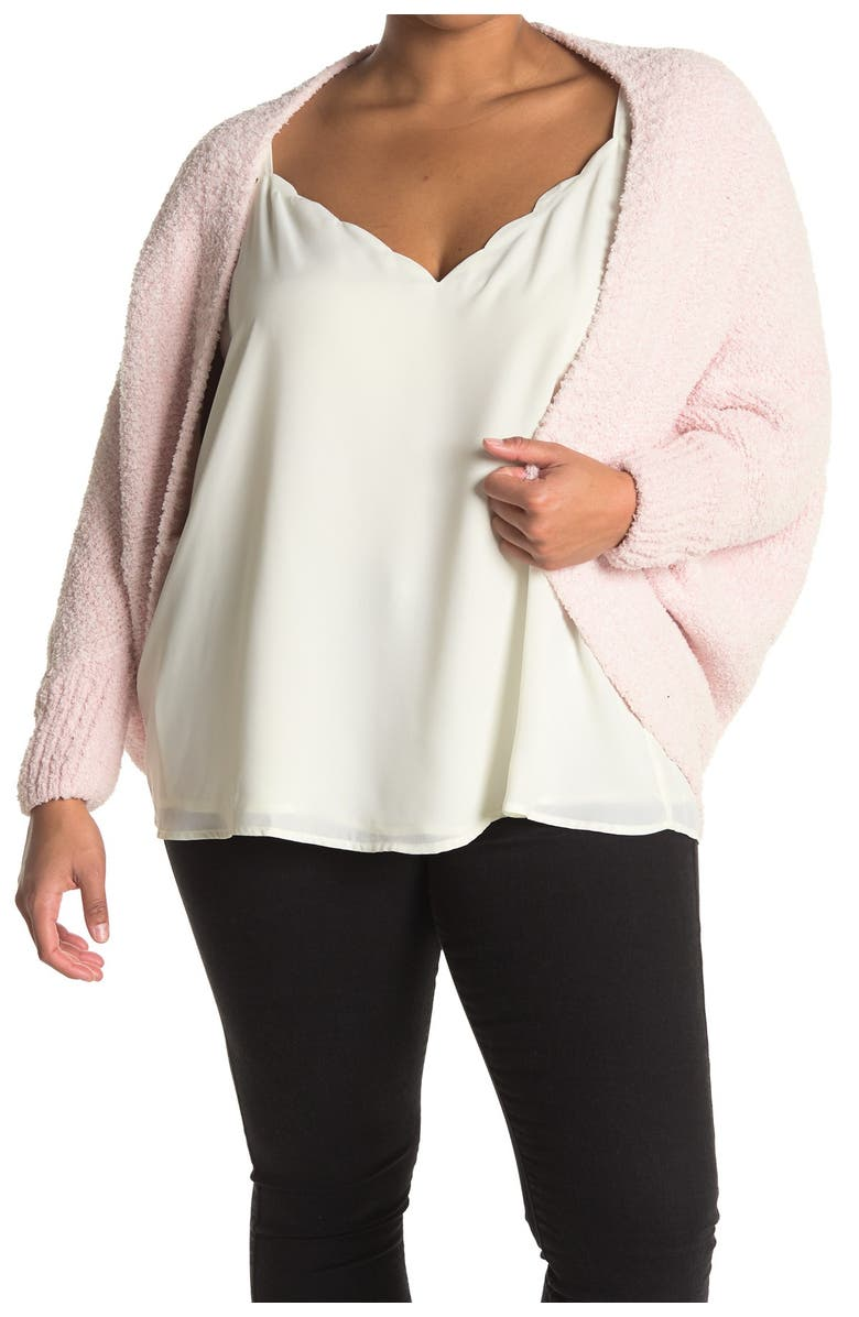 NORDSTROM RACK Knit Cocoon Poncho, Main, color, PINK
