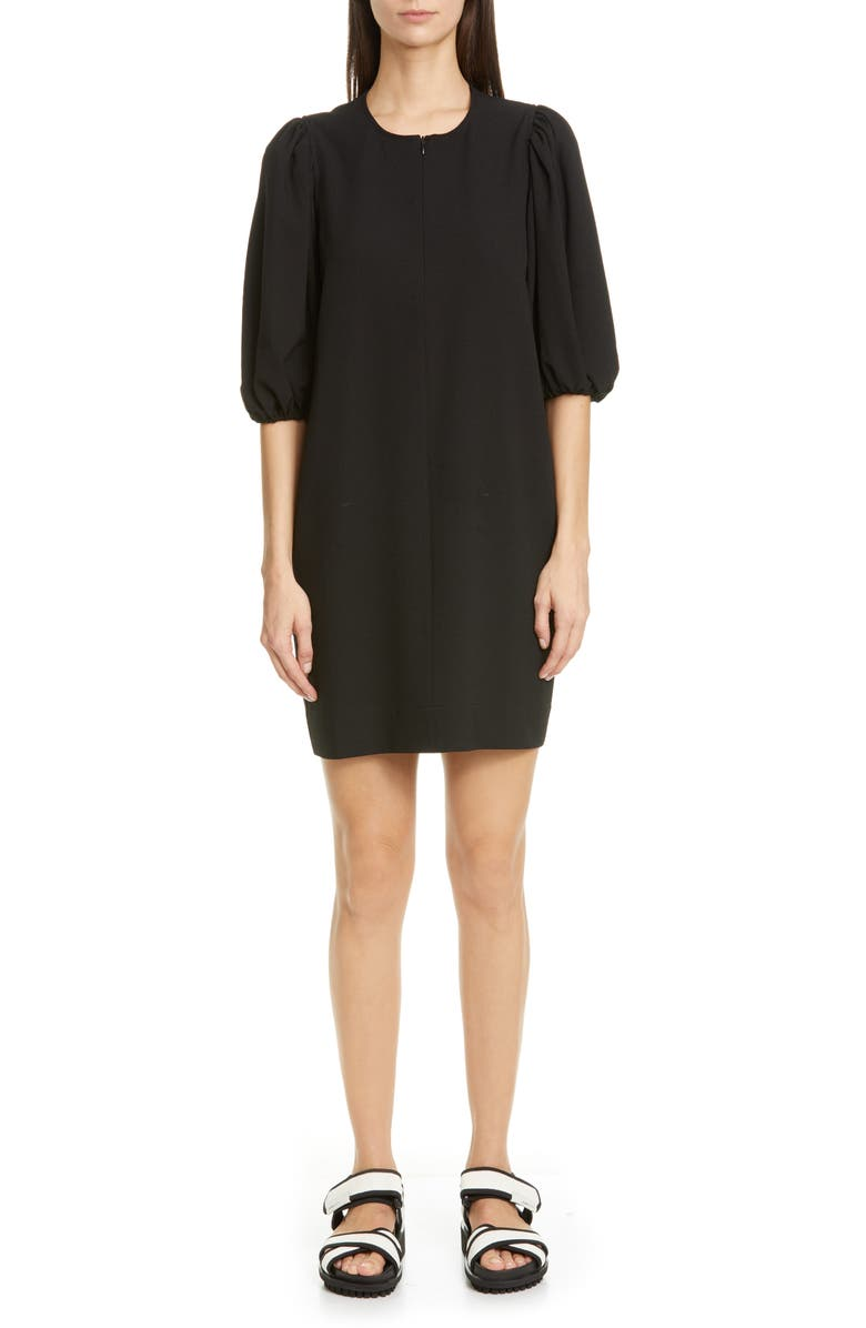 GANNI Puff Sleeve Heavy Crepe Shift Dress, Main, color, BLACK