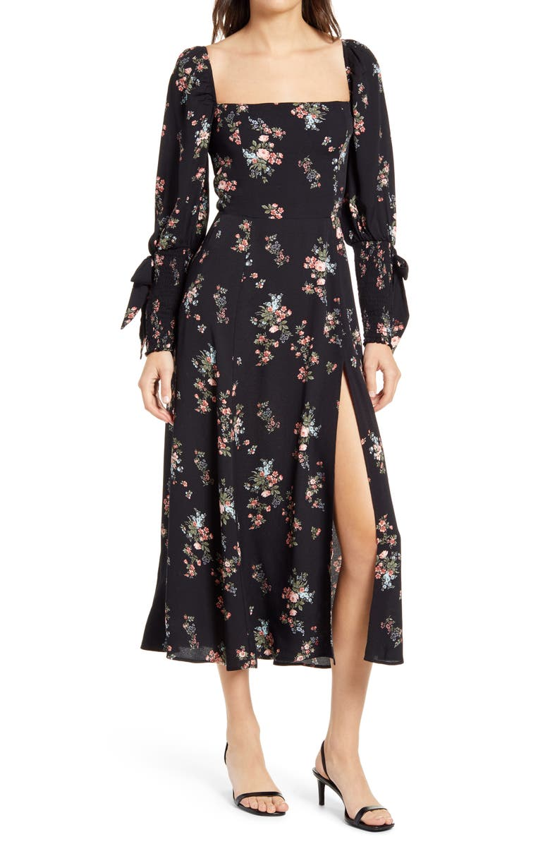 REFORMATION Aubrey Floral Long Sleeve Midi Dress, Main, color, 001