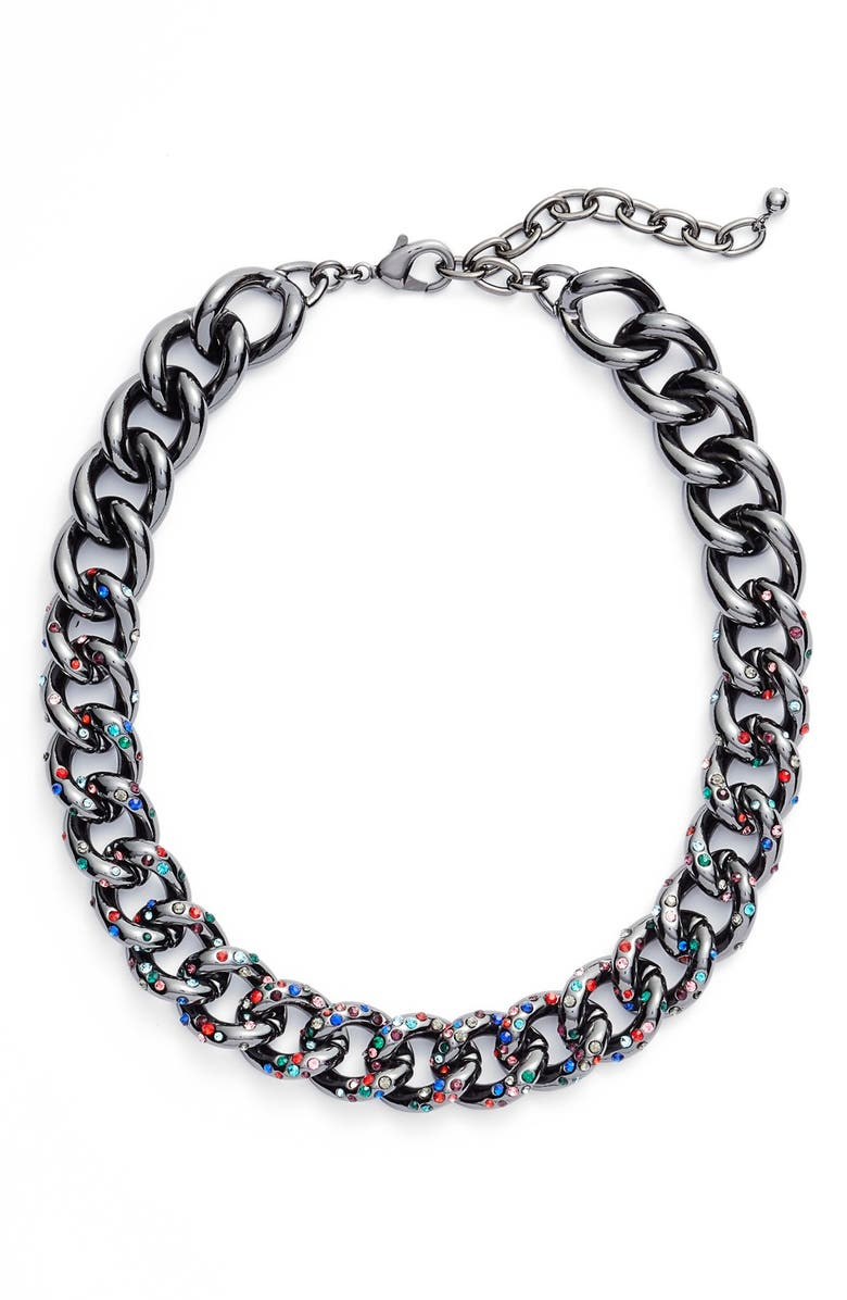 NORDSTROM Encrusted Curb Chain Collar Necklace, Main, color, 001