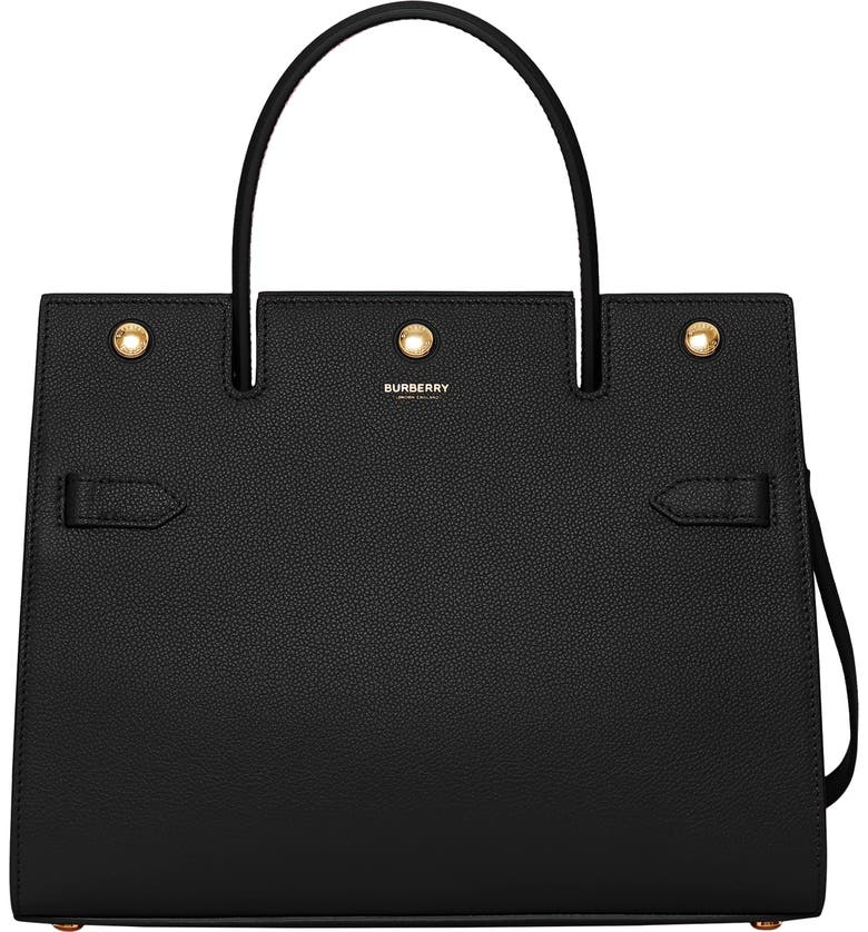 BURBERRY Small Title Leather Bag, Main, color, 001