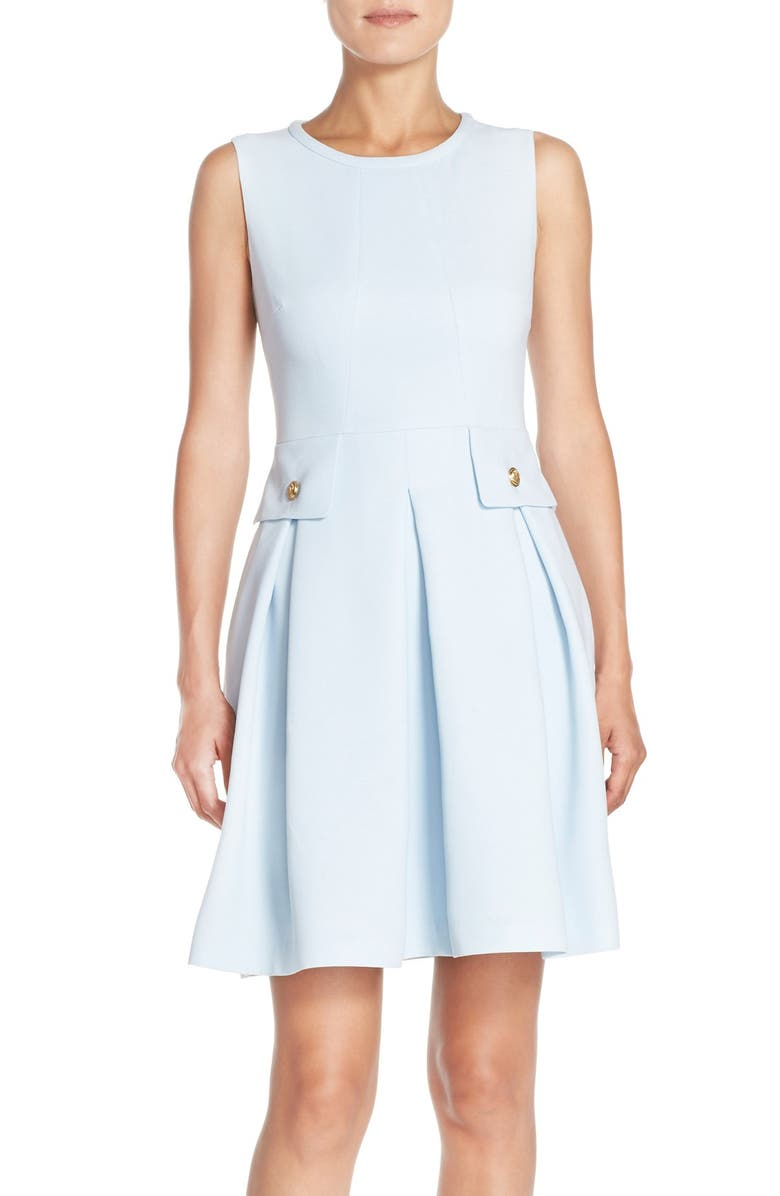 ADRIANNA PAPELL Crepe Fit & Flare Dress, Main, color, SKY BLUE