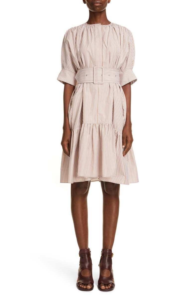 CHLOÉ Stripe Embroidered Ruffle Poplin Dress, Main, color, WHITE BEIGE