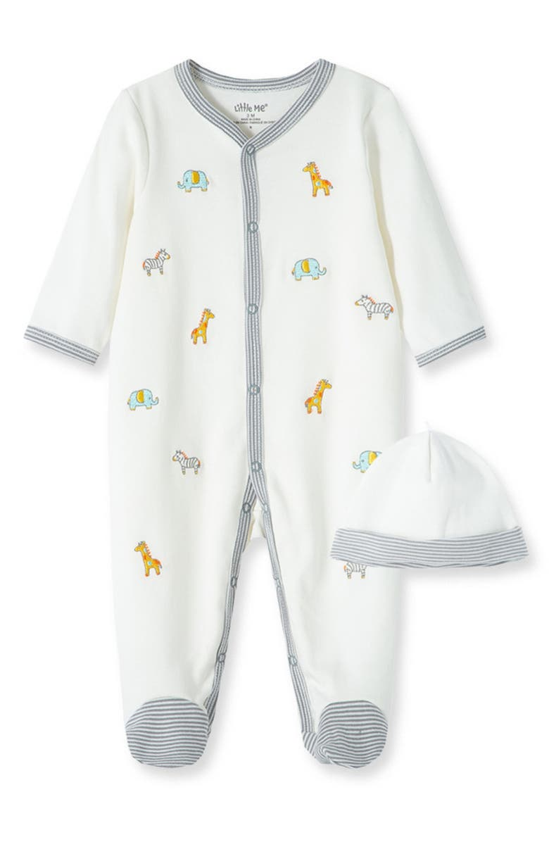 LITTLE ME Safari Schiffli Embroidery Footie & Hat Set, Main, color, MARSHMELLOW/ MONUMENT/ MULTI