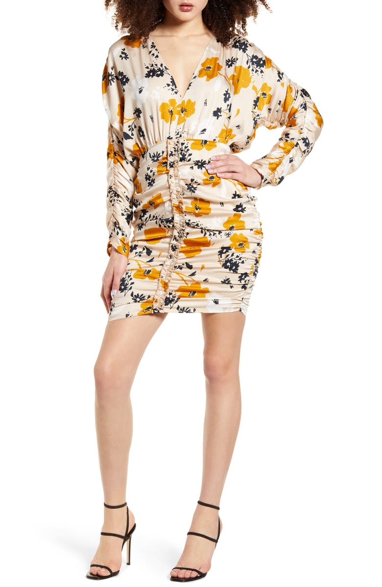 SOCIALITE Floral Ruched Long Sleeve Dress, Main, color, 250