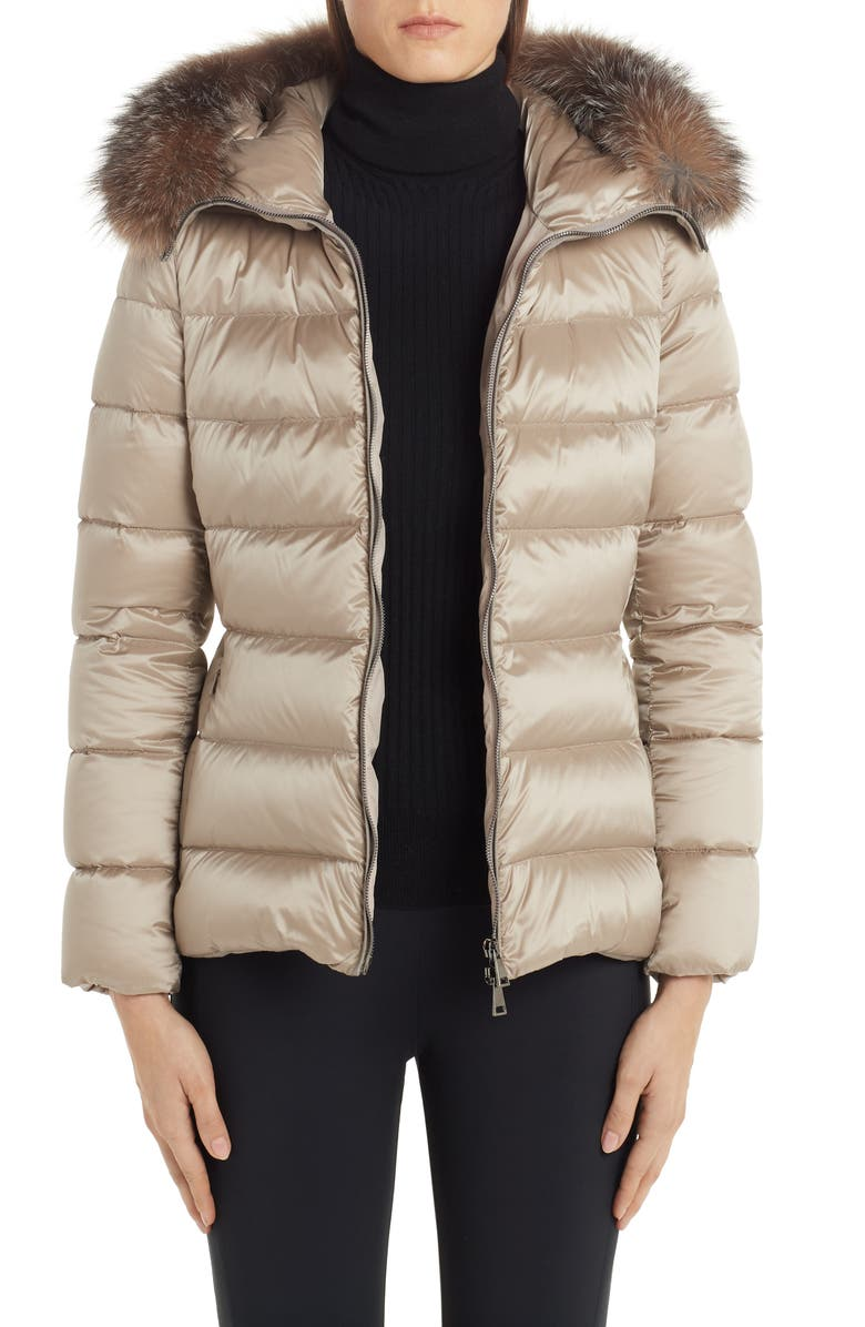 MONCLER Tati Belted Down Puffer Coat with Removable Genuine Fox Fur Trim, Main, color, 250