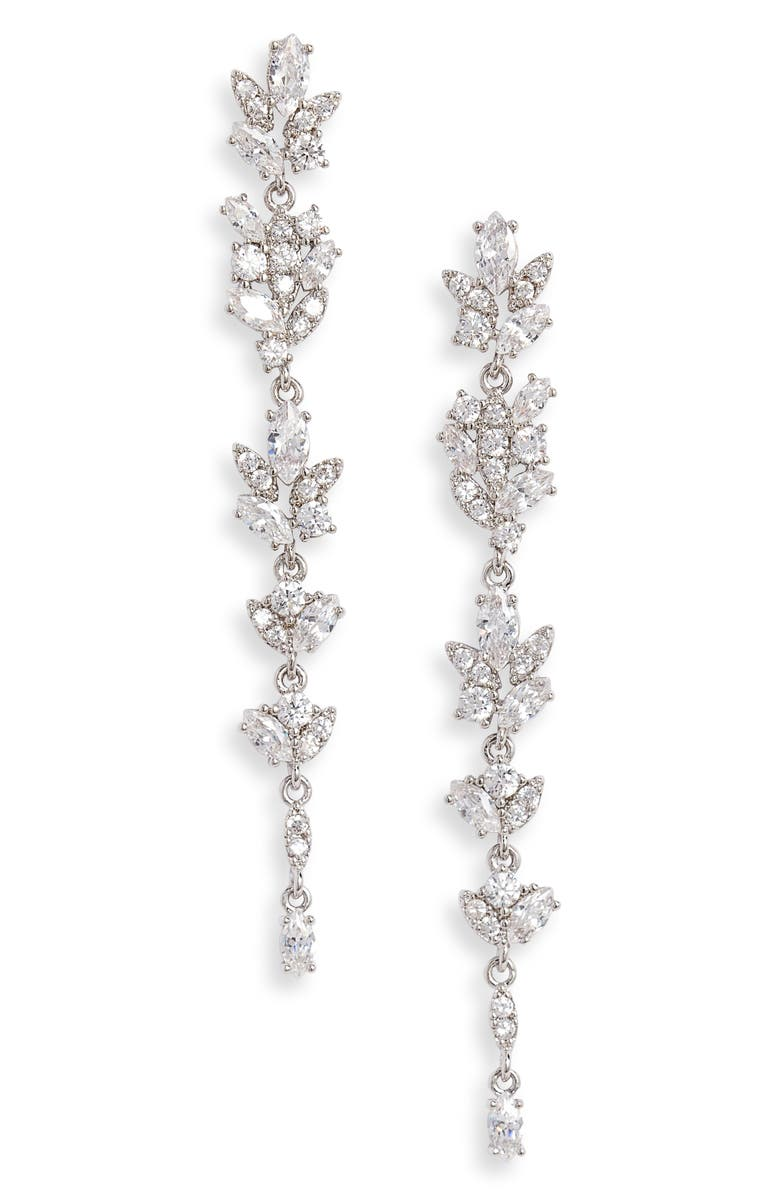 NORDSTROM Crystal Leaf Linear Drop Earrings, Main, color, CLEAR- SILVER