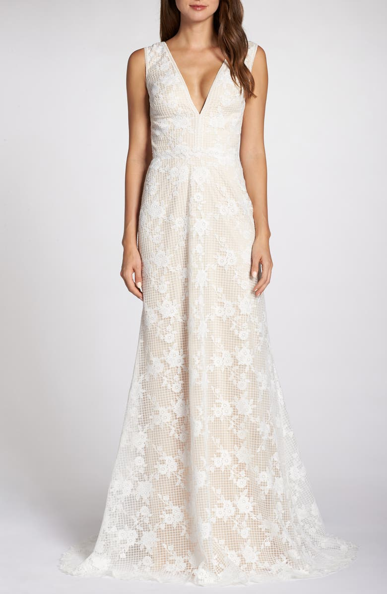 TADASHI SHOJI Grid & Floral Lace A-Line Wedding Dress, Main, color, IVORY/ PETAL
