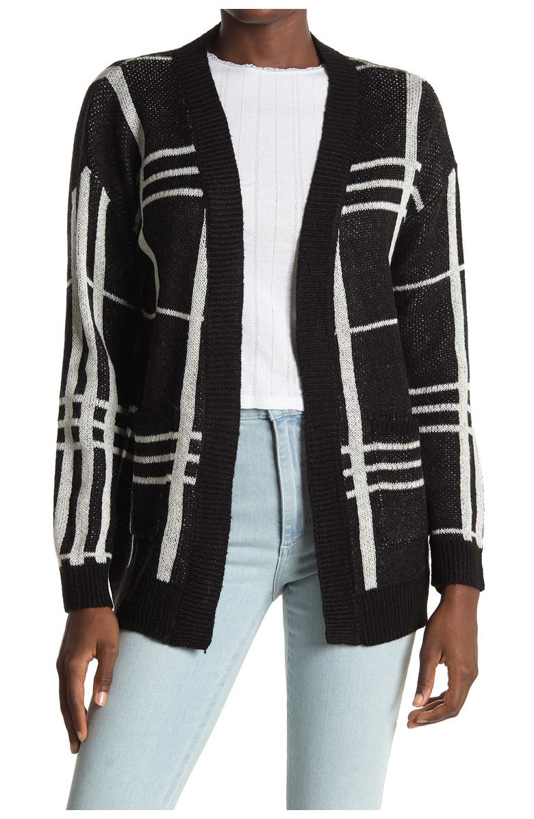 LOVE BY DESIGN Long Sleeve Open Cardigan, Main, color, GRID MIX BLACK/WHITE