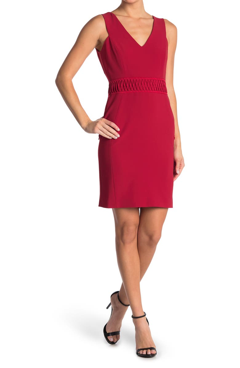 MOSCHINO Laced Sleeveless Sheath Dress, Main, color, RED