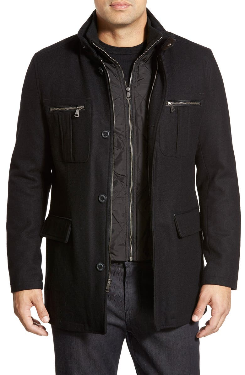 COLE HAAN Wool Blend Jacket, Main, color, BLACK