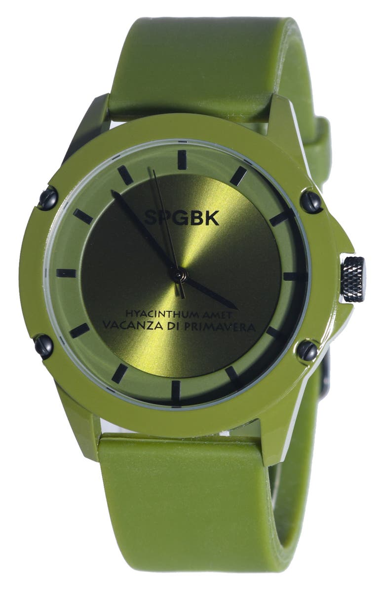 SPGBK WATCHES Honeycutt Silicone Band Watch, 44mm, Main, color, OLIVE