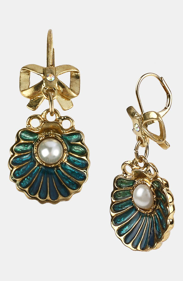 BETSEY JOHNSON 'Sea Excursion' Oyster Drop Earrings, Main, color, BLUE MULTI/ GOLD