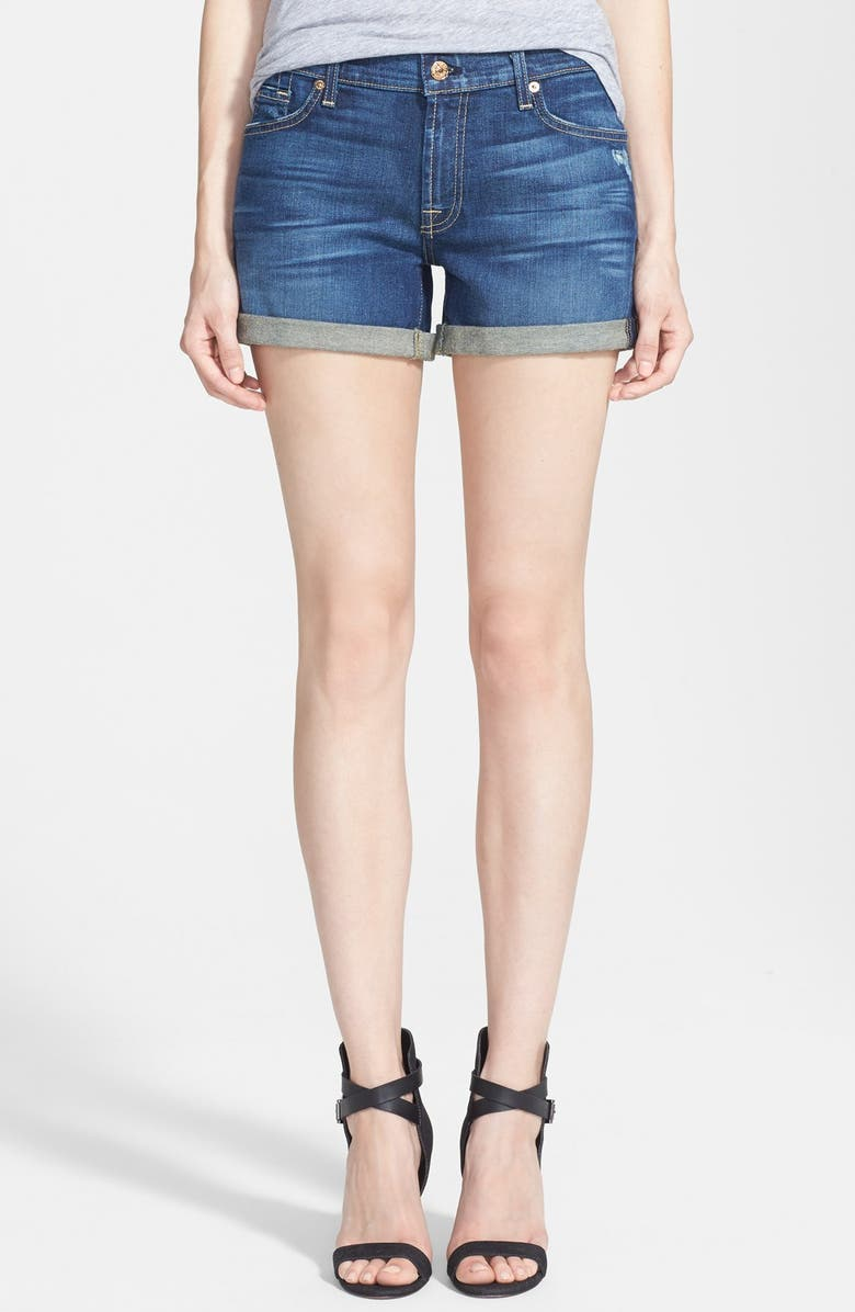 7 FOR ALL MANKIND<SUP>®</SUP> Roll Cuff Denim Shorts, Main, color, AUTHENTIC TRUE BLUE
