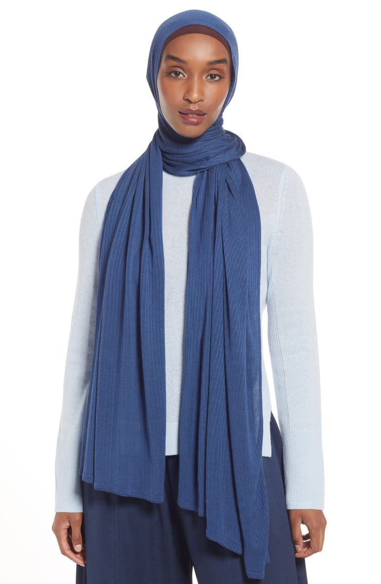 NORDSTROM Henna & Hijabs Textured Jersey Hijab, Main, color, BLUE ENSIGN
