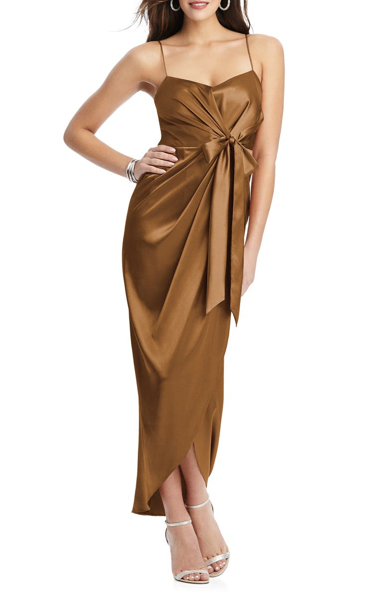 AFTER SIX Bow Front Stretch Satin Gown, Main, color, TOFFEE