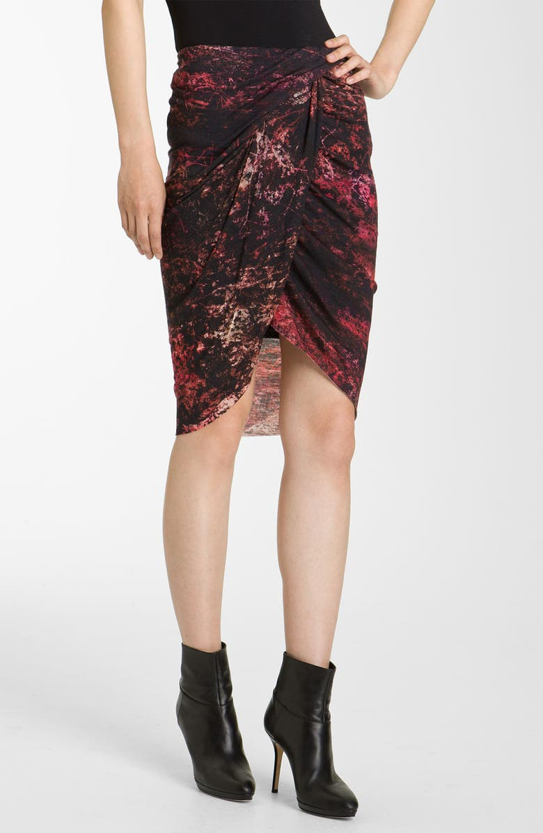 HELMUT LANG 'Midnight Floral' Print Jersey Skirt, Main, color, RED MULTI
