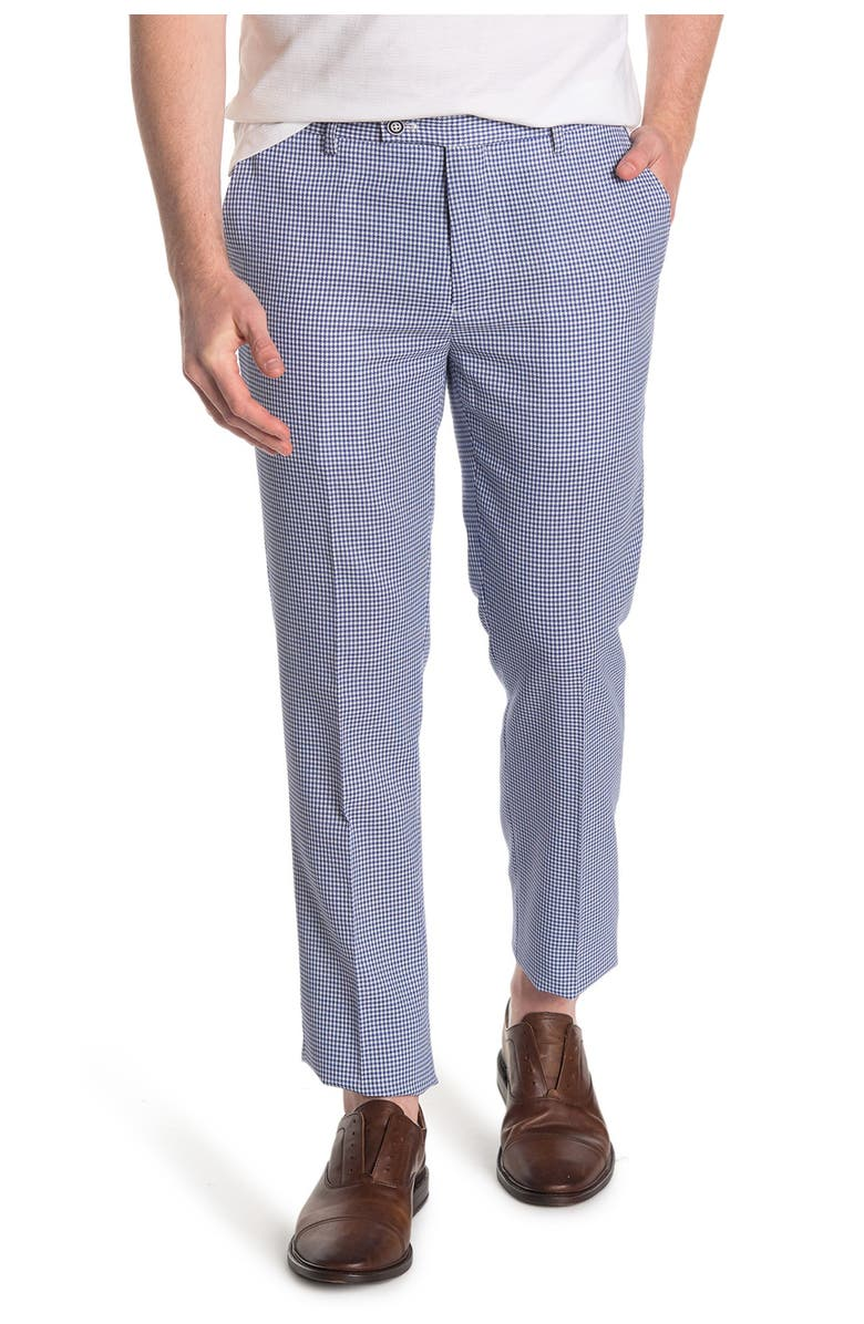 PAISLEY AND GRAY Gingham Print Slim Fit Trousers, Main, color, BLUE WHITE