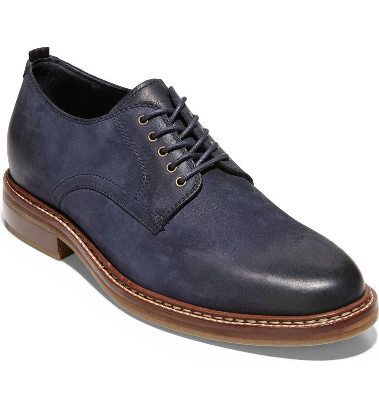 COLE HAAN Frankland Grand Plain Toe Derby, Main, color, NAVY NUBUCK