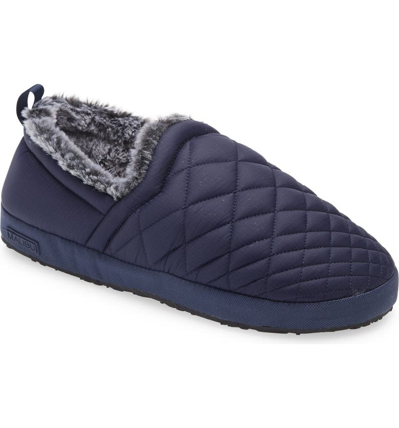 MALIBU SANDALS Colony Water Resistant Moccasin Slipper, Main, color, NAVY/GREY