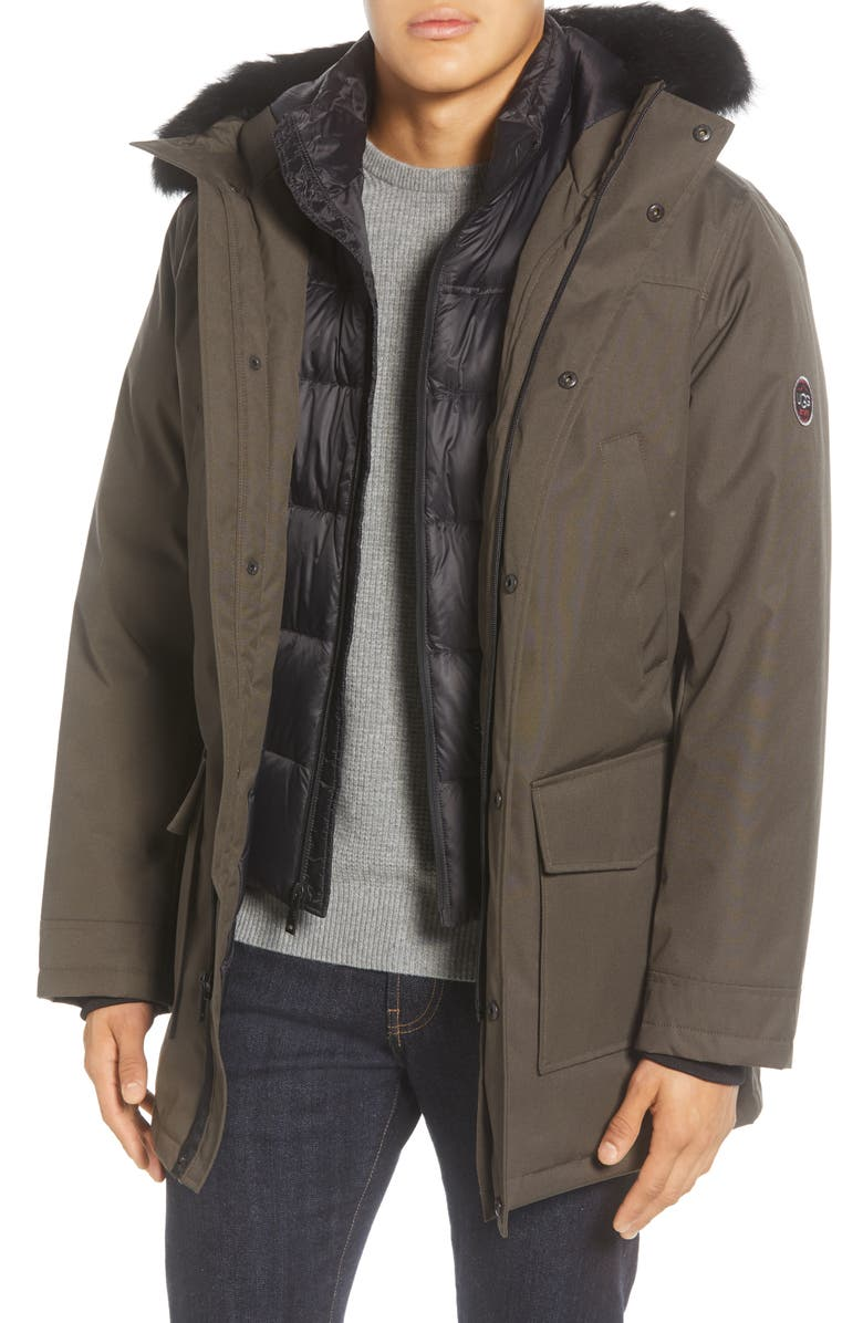 UGG<SUP>®</SUP> Butte 3-in-1 Down Parka with Genuine Shearling Trim, Main, color, DARK OLIVE