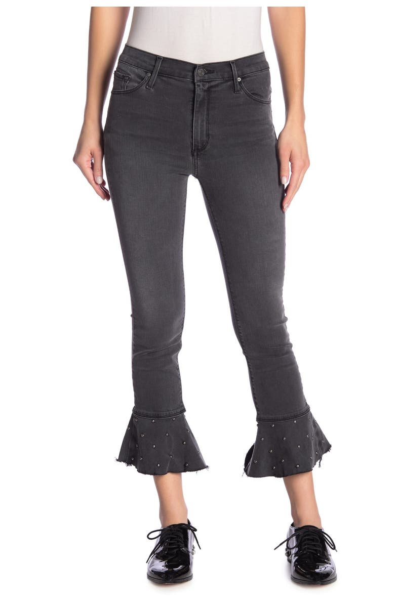 BLACK ORCHID Stella Ruffle Fray Hem Jeans, Main, color, SMOKE ME OUT