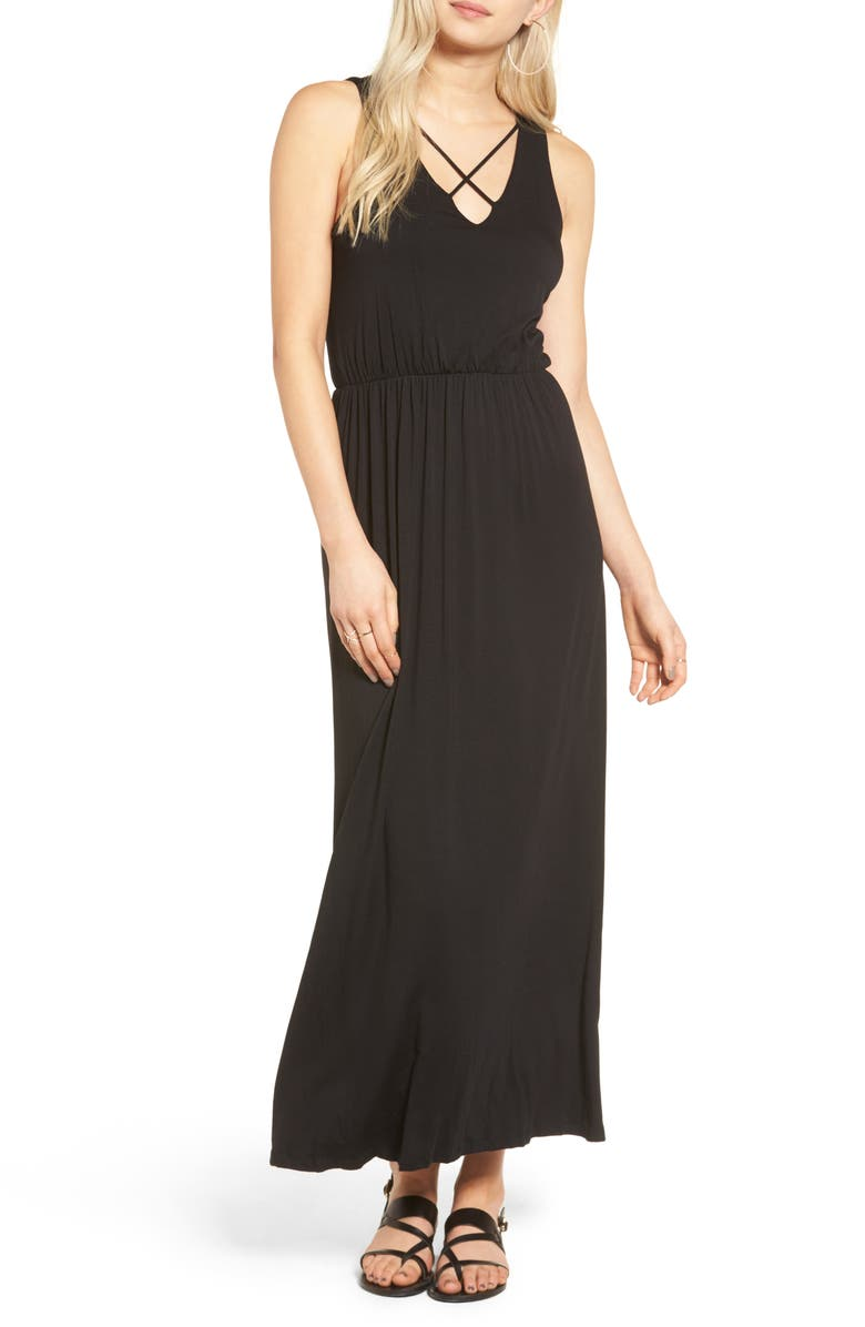ALL IN FAVOR Cross Front Maxi Dress, Main, color, BLACK