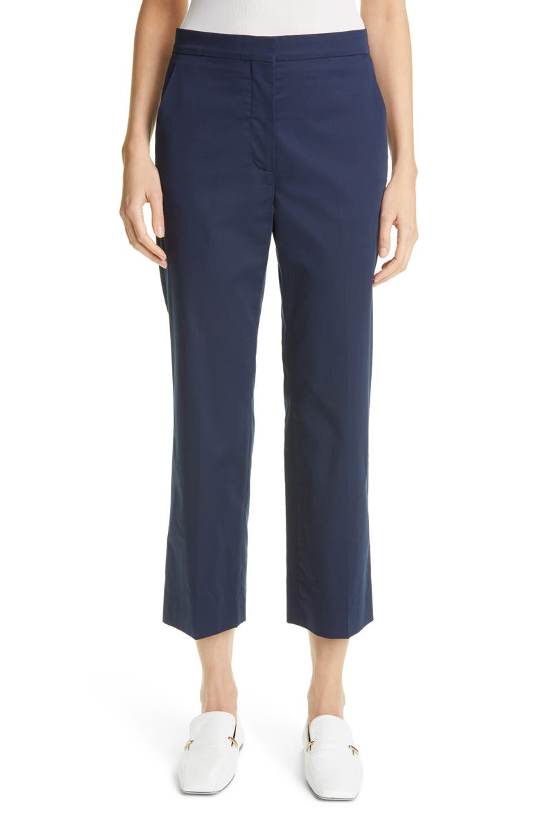 ST. JOHN COLLECTION Stretch Cotton Sateen Crop Pants, Main, color, NAVY