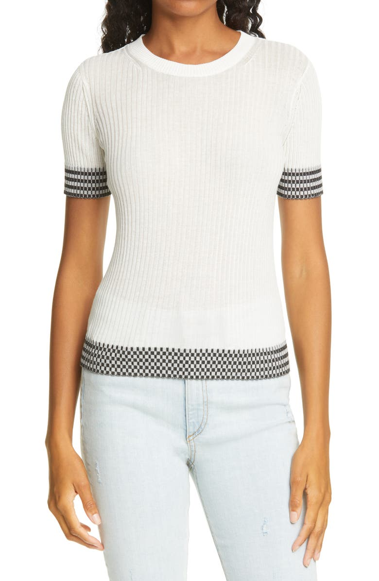 RAG & BONE Arctic Check Rib Cotton Sweater T-Shirt, Main, color, 900