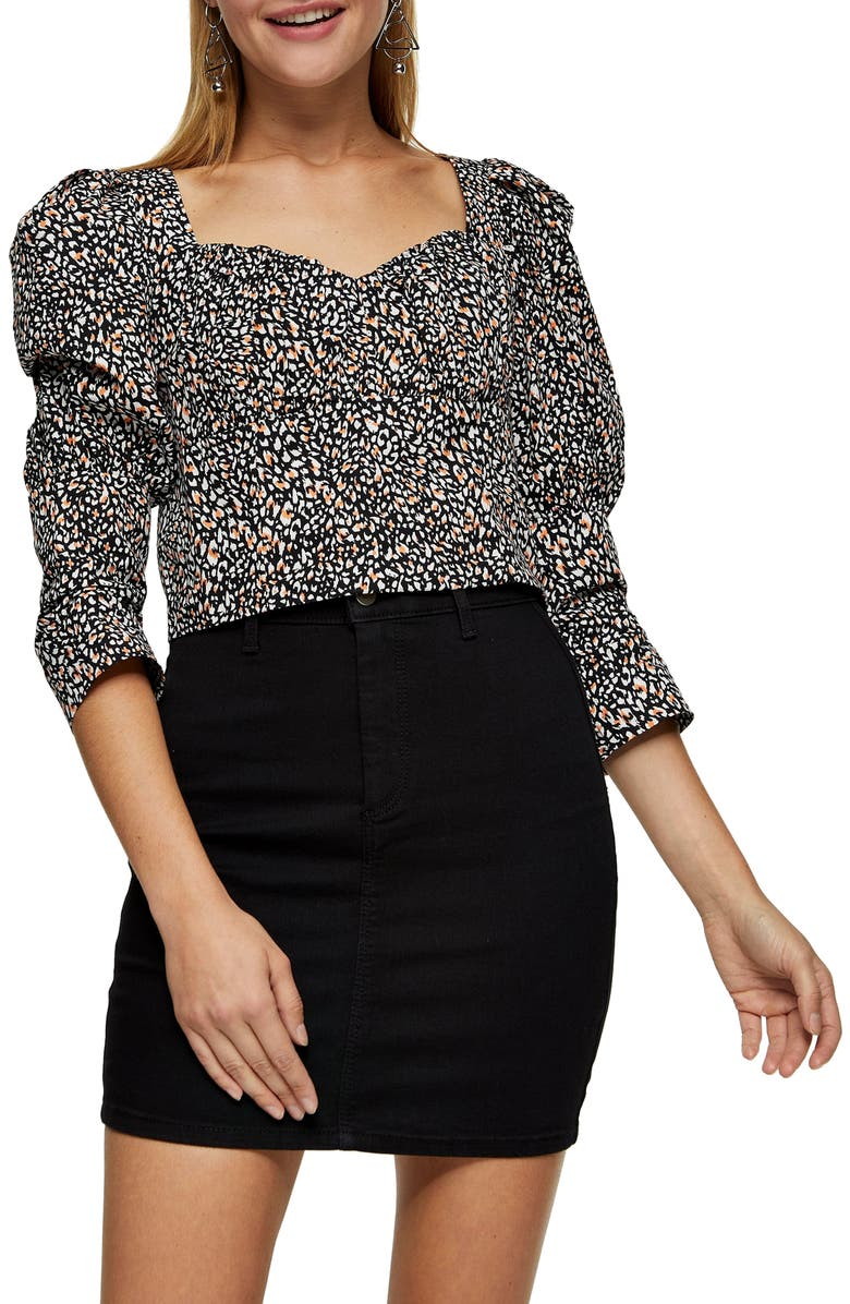 TOPSHOP Animal Print Crop Top, Main, color, 200