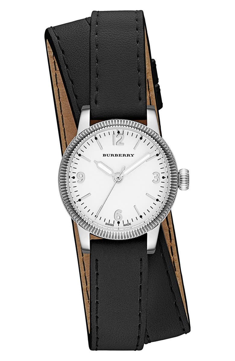 BURBERRY 'Utilitarian' Round Leather Wrap Watch, 30mm, Main, color, 001