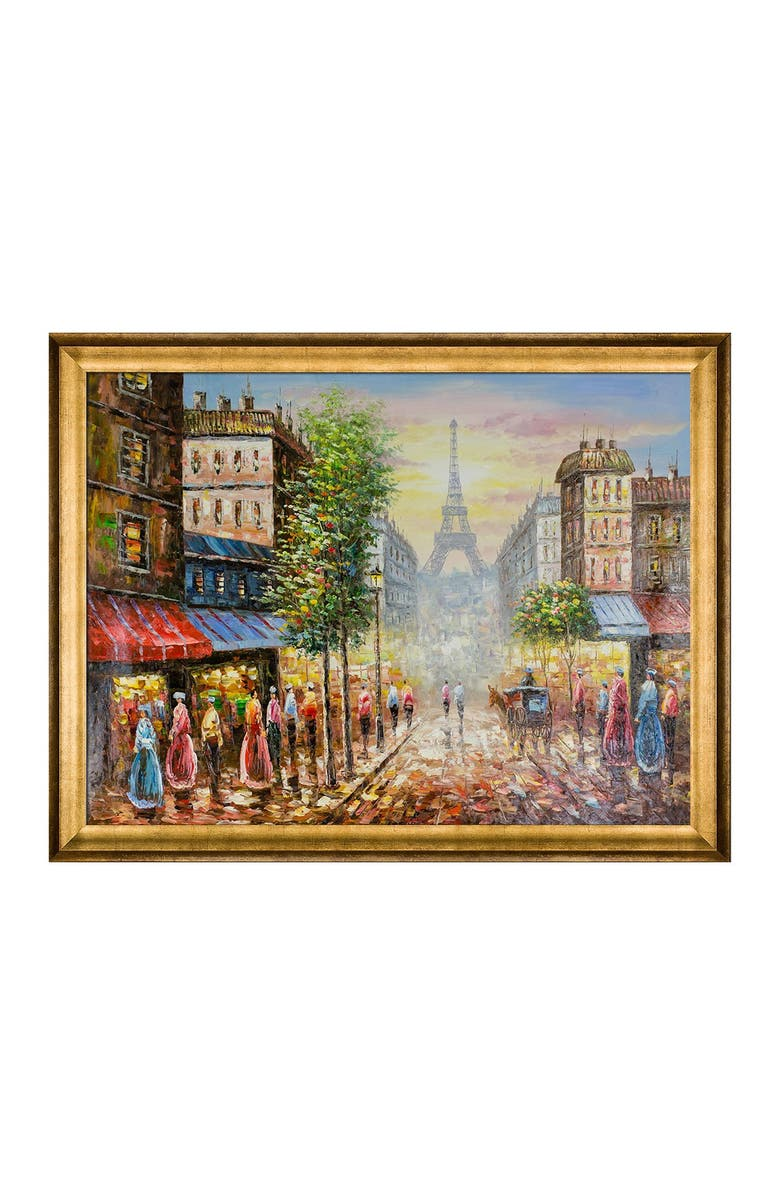 OVERSTOCK ART Evening View Of The Eiffel Tower with Athenian Gold Frame, Main, color, MULTI