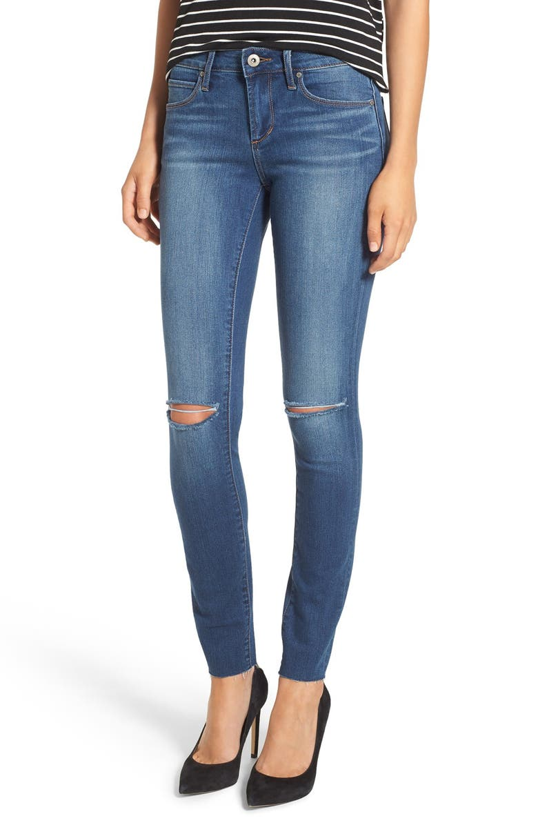 ARTICLES OF SOCIETY 'Sarah' Distressed Raw Hem Skinny Jeans, Main, color, RODEO