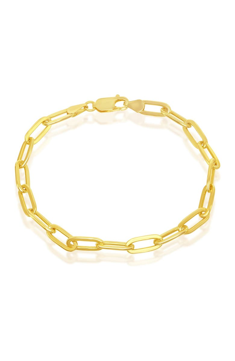 SIMONA 14K Yellow Gold Plated Sterling Silver 4mm Paperclip Link Chain Bracelet, Main, color, GOLD