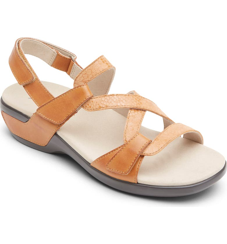 ARAVON S Strap Sandal, Main, color, TAN MULTICOLOR LEATHER