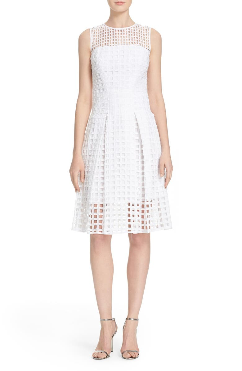 MILLY Grid Lace Fit & Flare Dress, Main, color, 150