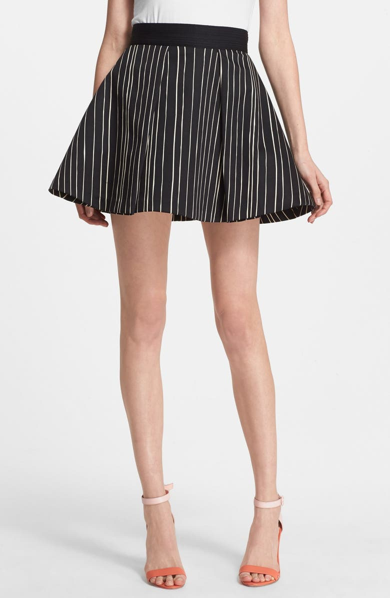 ALICE + OLIVIA 'Libby' Stripe Flared Skirt, Main, color, 001
