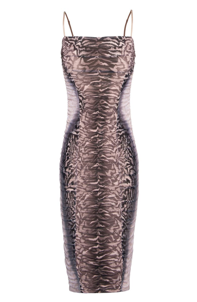 AFRM Amara Ruched Cocktail Dress, Main, color, PLACEMENT OMBRE ANIMAL