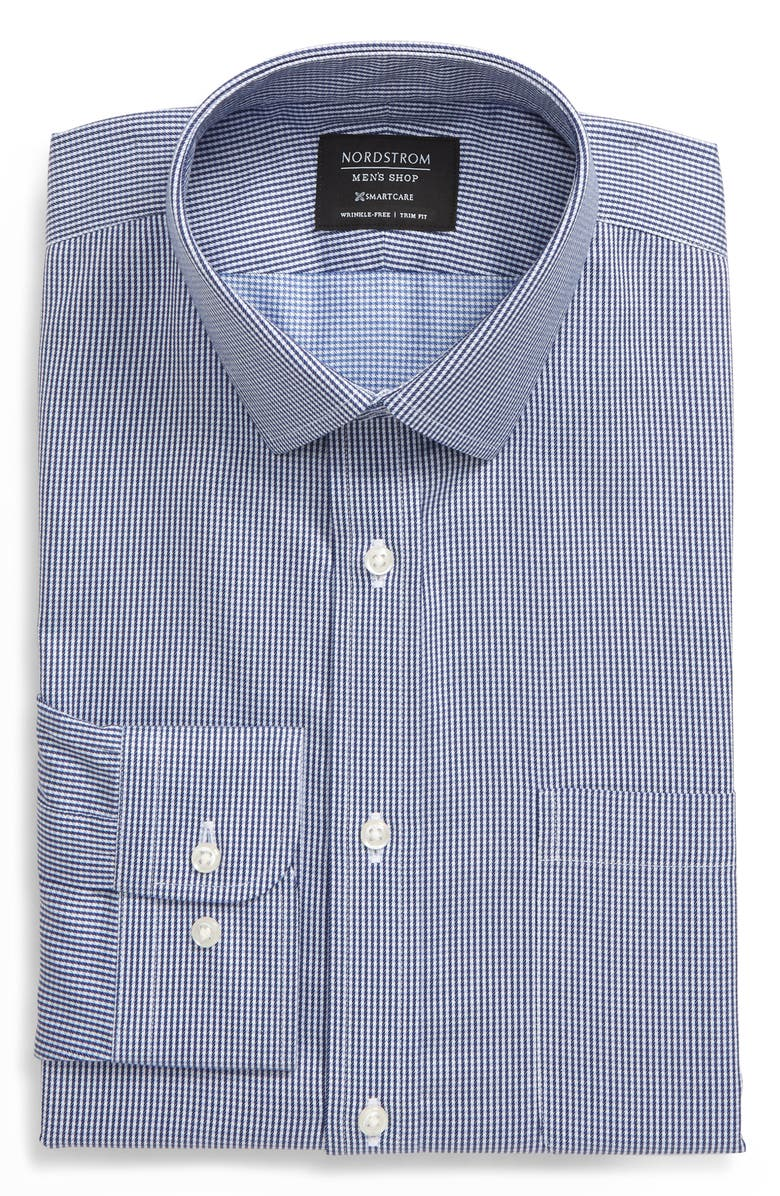 NORDSTROM Men's Shop Smartcare<sup>™</sup> Trim Fit Houndstooth Dress Shirt, Main, color, 401