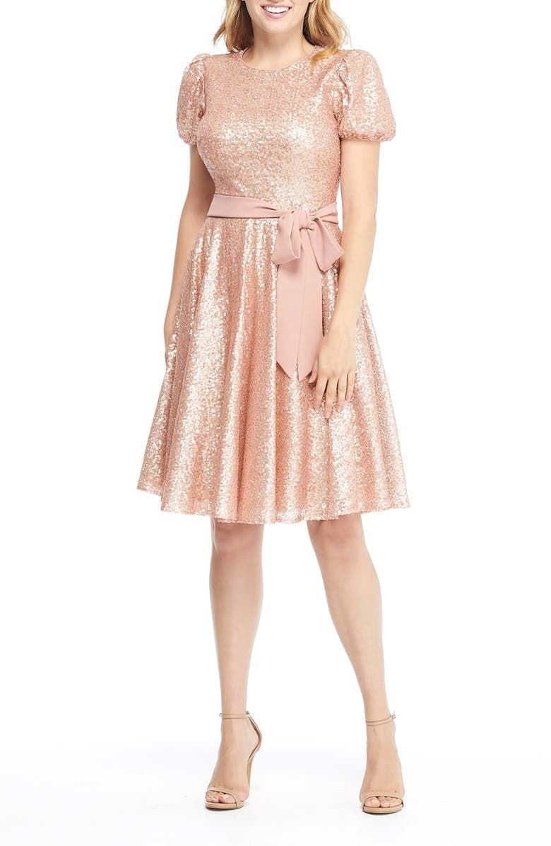 GAL MEETS GLAM COLLECTION Beatrix Sequin Crush Fit & Flare Dress, Main, color, Pink