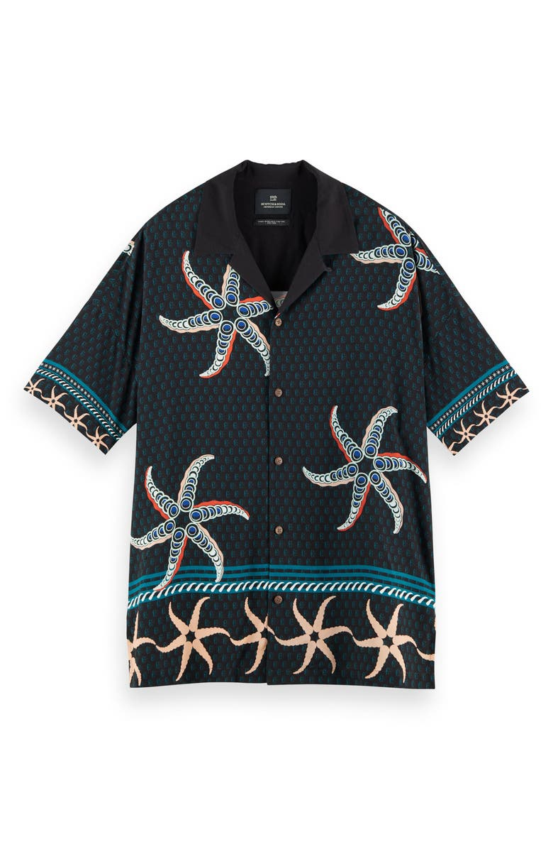 SCOTCH & SODA Tropical Print Button-Up Shirt, Main, color, BLUE