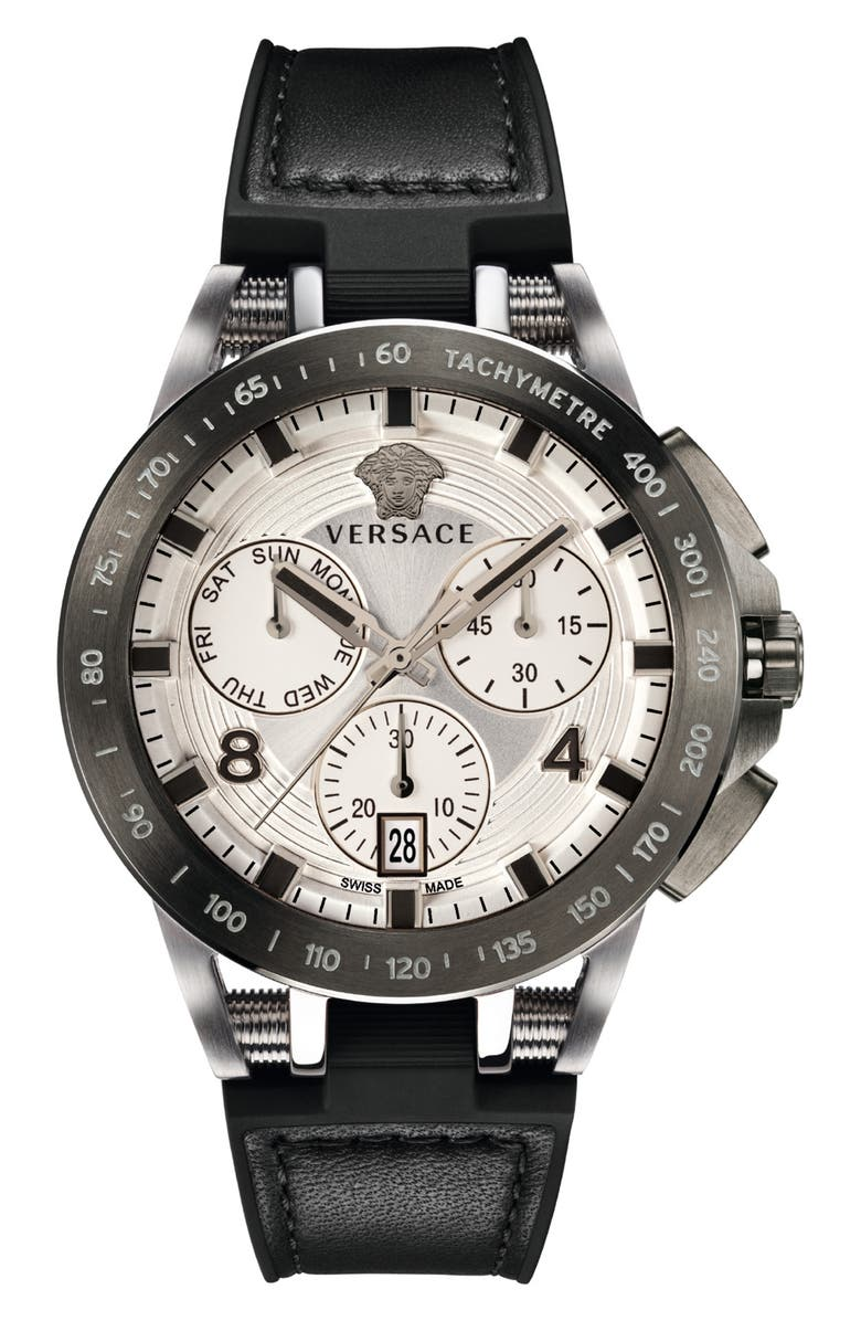 VERSACE Sport Tech Chronograph Leather Strap Watch, 45mm, Main, color, 001
