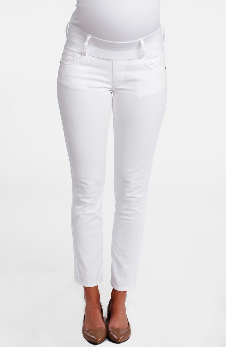 MATERNAL AMERICA Maternity Skinny Ankle Stretch Jeans, Main, color, White