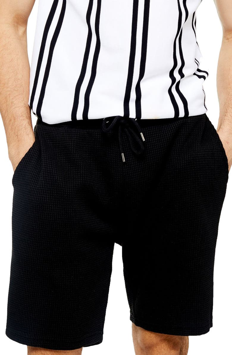 TOPMAN Classic Fit Waffle Knit Shorts, Main, color, 001