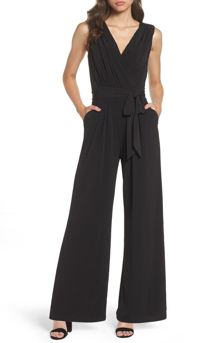 VINCE CAMUTO Faux Wrap Jersey Jumpsuit, Main, color, 001