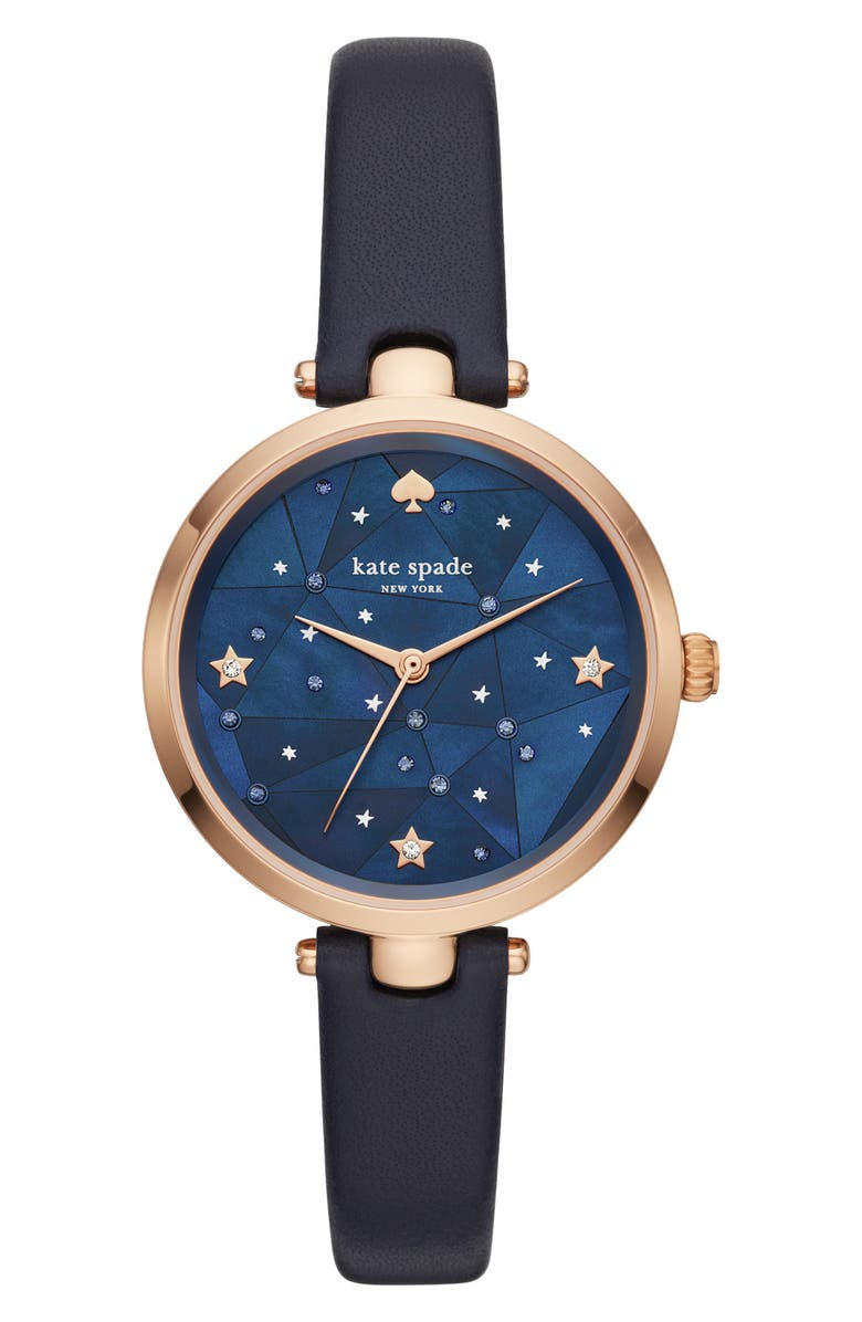 KATE SPADE NEW YORK holland constellation leather strap watch, 34mm, Main, color, 400