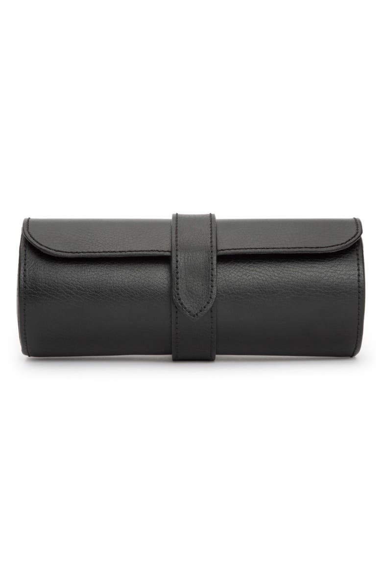 WOLF Black Leather Watch Roll, Main, color, 001
